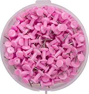 200 -ATL Plastic Head, Steel Point Colorful Pushpins Per Container (Pink)