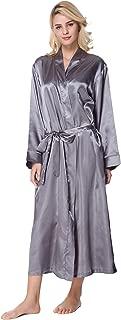 Women's Long Classic Satin Kimono Lounge Bathrobe Robe