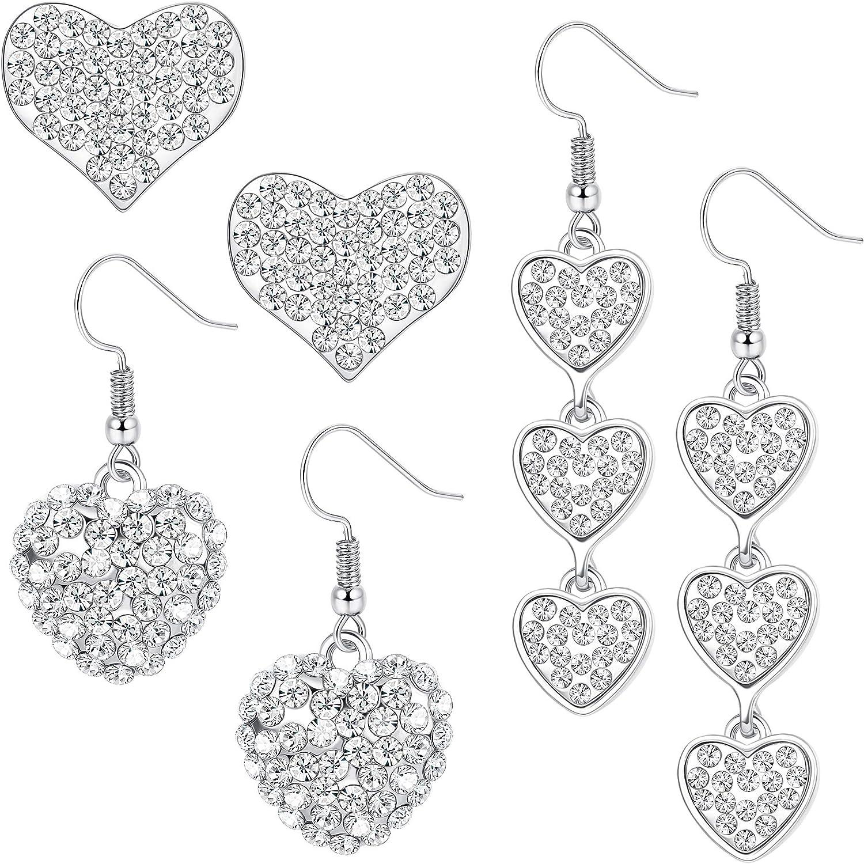 ORAZIO Valentines Day Gift Heart Earrings for Women Mom Her Girlfriend Drop Dangle Earrings Set