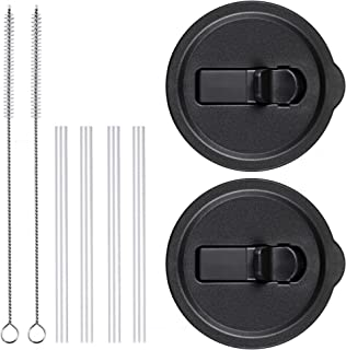Vmini Tumbler Lid, Compatible with 20 Oz Yeti Rambler and More, Straws and Brushes Included, Great Design - Flip Suction Nozzle, 2 pack - black