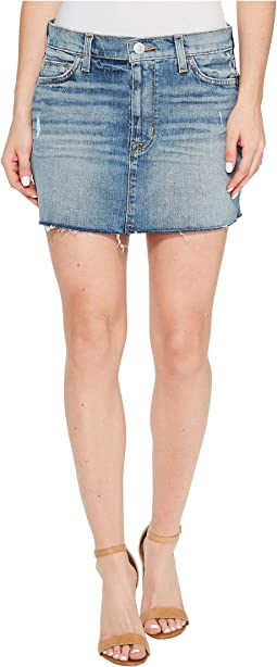 Vivid Denim Mini Skirt w/ Raw Hem in Sunday Girl