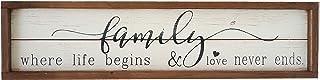 Parisloft Family Where Life Begins & Love Never Ends White Background Wood Framed..