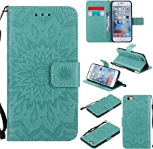 Cmeka 3D Sunflower Wallet Case for iPhone 6 / iPhone 6s with Credit Card Slots Holder Magnetic Closure Slim Flip Leather Kickstand Function Protective Case Mint Green