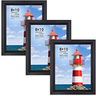 Langdon House 8x10 Picture Frame (3 Pack, Black), Sturdy Wood Composite Photo Frame 8 x 10, Wall Mount or Table Top, Set of 3 Seaside Collection