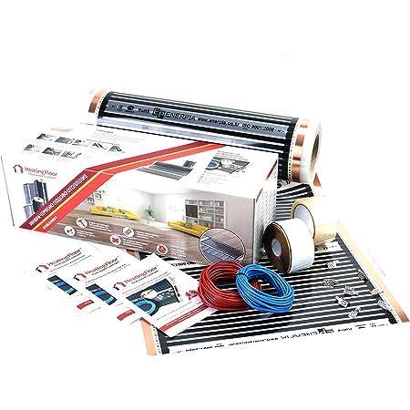 4m2, 320W, Kit de calefacción por suelo radiante eléctrico por infrarrojos (Película calefactora 80W/m2, 230V, ancho 50cm)