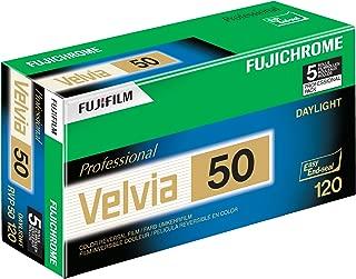Fujifilm 16329185 Fujichrome Velvia 120mm 50 Color Slide Film ISO 50 - 5 Roll Pro Pack (Green/White/Purple)