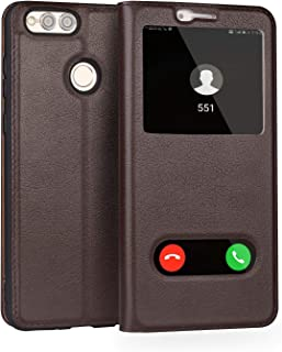 Leather Case Compatible with Huawei Honor 7X, Genuine Leather Ultra Thin Flip Dual Window View Stand Feature Case Cover Phone case (Color : Brown)