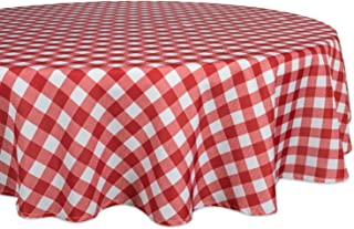 """DII Red Check Outdoor Tabletop Collection, Stain Resistant & Waterproof, 60"""" Round, Check"""