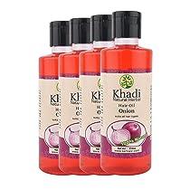 Khadi Natural Herbal Onion Hair Oil For Hair Growth With Argan, Sank Pushpi, Brahmi & Coconut 840ML-Pack of 4