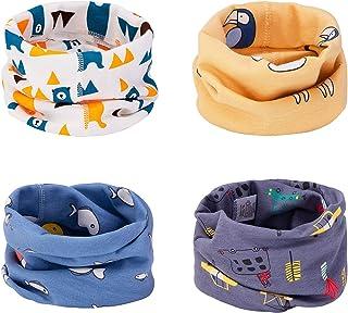 CNNIK Multiuso Sciarpa per Bambini, 4 Pezzi Cappello del Cotone Sciarpa O-Scaldacollo Loop per Bambini Piccoli Ragazze e R...