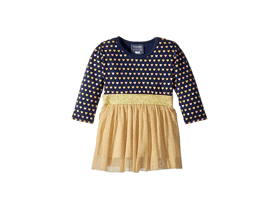 Toobydoo Sweet Hearts Tulle Party Dress (Infant/Toddler/Little Kids/Big Kids) (Navy/Pink/Gold) Girl
