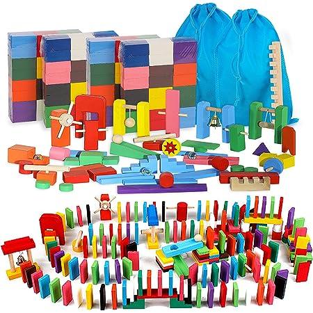 AISFA 積み木 ドミノ倒し 480個 ギミック 仕掛け 43種セット 木製 カラフル 誕生日 プレゼント 並べる用道具と収納袋 セット 対象年齢 7歳以上