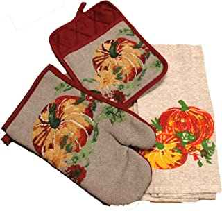 Twisted Anchor Trading Co 3 pc Tapestry Style Pumpkin Watercolor Fall Kitchen Decor Set Gray Matching Kitchen Towel, Pot Holder, and Oven Mitt - Comes in an Organza Bag so It's Ready for Giving!