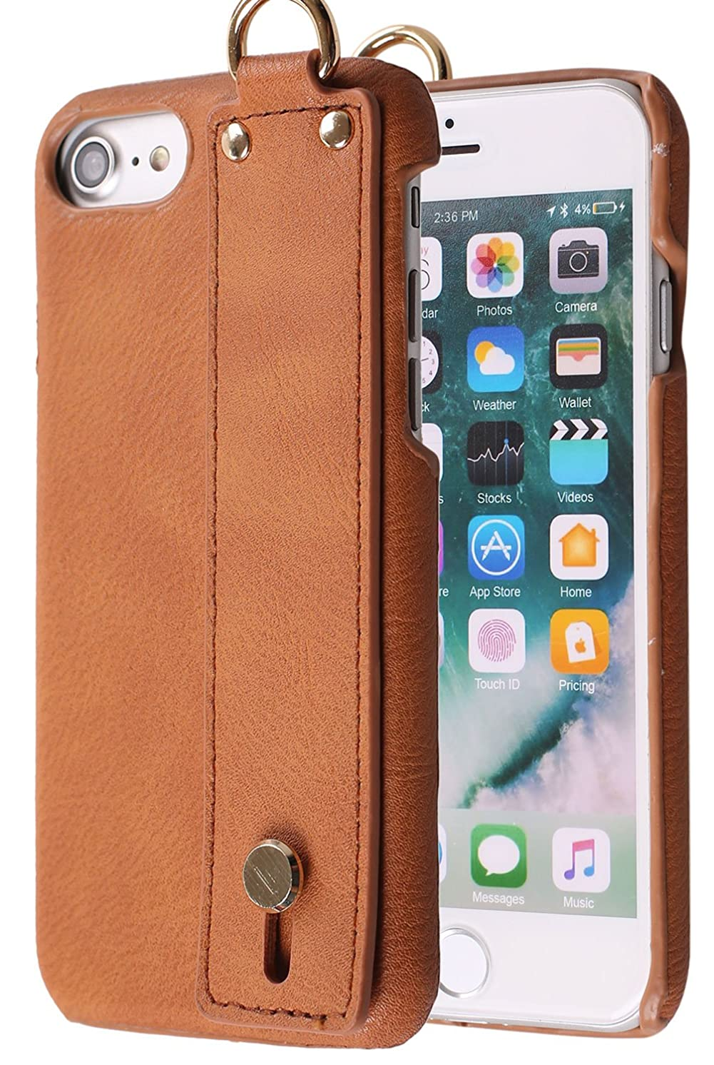 iPhone 8 Case with Handle on Back , Monca Leather Handle [Kickstand] Bumper Case Cover for Apple iPhone 6s / iPhone 7 / iPhone 8 (Brown)