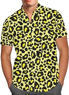 Queen of Cases Bright Leopard Print Mens Button Down Short Sleeve Shirt