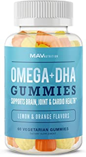 Super Omega + DHA Gummies - Premium Brain and Cardiovascular Support, Vision and Immune Health, Pure Plant Based Oils, Non-GMO - by MAV Nutrition