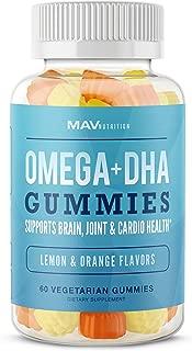 MAV Nutrition Fish Oil Omega 3 Gummies as DHA + Brain Supplement, Natural Flavors, Non-GMO, Vegetarian Friendly, 60 Count