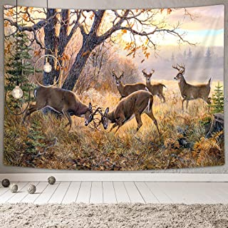 NYMB Animal Deer Tapestry Wall Hanging, Wildlife theme Elk Herd in Fall Forest, Home Decor Wall Tapestry Wall Art for Bedroom Living Room Collage Dorm, TV Backdrop 71''W X 60''H (Deer)