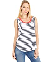 Stripe Jersey Tank with Color-Block Binding