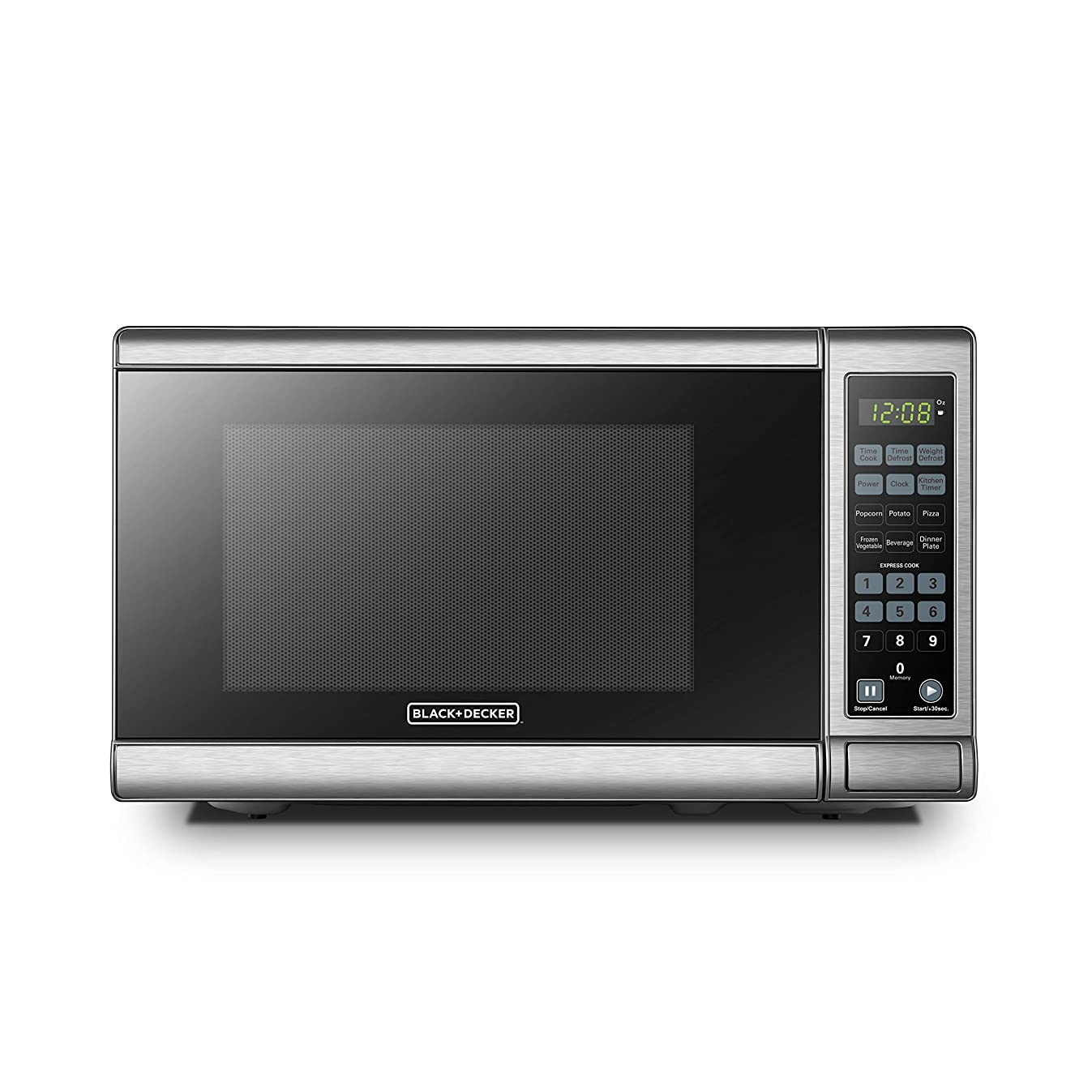 BLACK+DECKER EM720CB7 Digital Microwave Oven with Turntable Push-Button Door,Child Safety Lock,700W, Stainless Steel 0.7 Cu.Ft