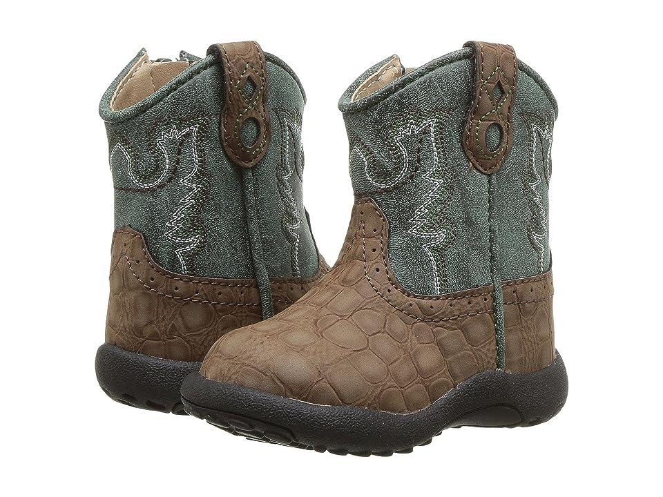 Roper Kids Gator (Infant/Toddler) (Brown Faux Caiman Vamp/Green Shaft) Cowboy Boots
