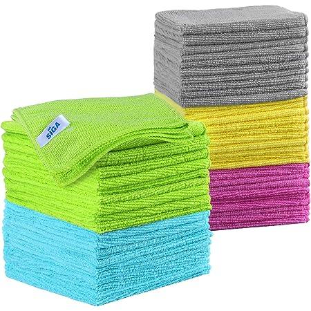 MR.SIGA Chiffons de nettoyage en microfibre, Serviettes de nettoyage tout usage, Lot de 50, Taille 11,8 x 11,8 pouces