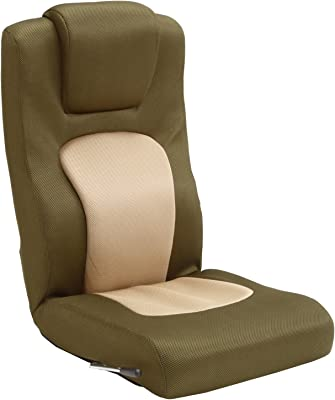 タマリビング(Tamaliving) コローリ 座椅子 無段階リクライニング ハイバック ベージュ/カーキ [完成品] 50000205