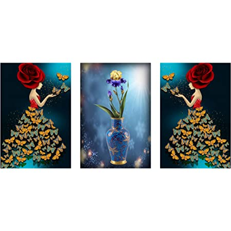 ZANKHI Art Set of 3 Lady Art with Flower vase Wall Painting 6015 MDF Framed Painting for Home Decoration (3D Unique, 12 inch x 18 inch,Each Frame Size Set of 3)