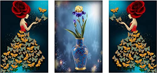 ZANKHI Art Set Of 3 Lady Art With Flower Vase Wall Painting 6015 MDF Framed Painting For Home Decoration 3D Unique 12 Inch X 18 Inch Each Frame Size Set Of 3