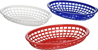 Tablecraft BBQ1074RWB 6 Piece Classic Oval Plastic Baskets, Red/White/Blue