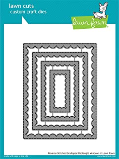 Lawn Fawn Reverse Stitched Scalloped Rectangle Windows (LF1800)