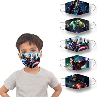 FADE COLLECTION Kid's 2 Ply Printed Avengers Superheroes Face Mask (Pack of 5)