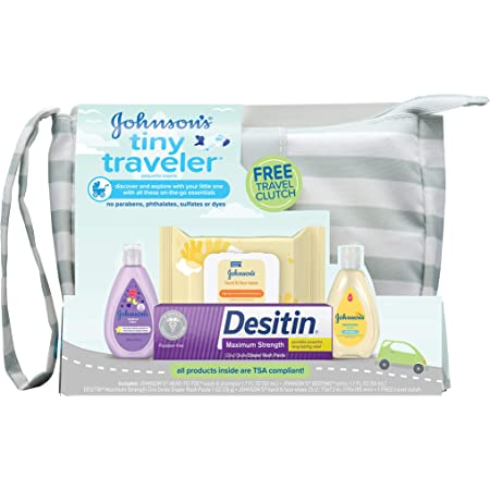 Johnson's Tiny Traveler Baby Gift Set, Baby Bath & Skin Care Essential Products, TSA-Compliant Baby Gift Set with Lotion, Wash, Rash Cream & Wipes, Hypoallergenic & Paraben-Free, 5 Items