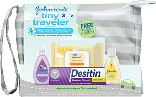 Johnson's Tiny Traveler Baby Gift Set, Baby Bath and Skin Care Essential Products, TSA-Compliant Travel Baby Gift Set...
