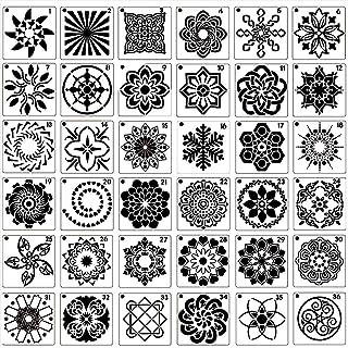 Wedong 36 PCS Mandala Stencils, Reusable Stencils Painting Template Stencil for DIY Art Scrapbook Projects