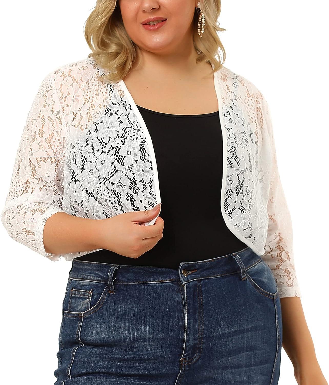 Agnes Orinda Plus Size Shrugs for Women Elegant 3/4 Sleeve Sheer Floral Lace Shrug Top