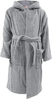 Kids Girls Boys 100% Cotton Soft Terry Hooded Bathrobe Luxury Dressing Gown 2-13 Steel Grey