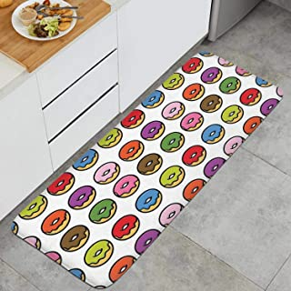 Rainbow Donuts Love Doughnuts White Anti Fatigue Kitchen Mat Super Cozy Velvet Standing Mat Non-Slip Kitchen Rug