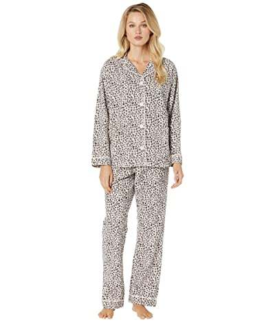 Dylan by True Grit Baby Cheetah Soft Flannel Pajama Set with Contrast Piping and Tie (Pink) Women