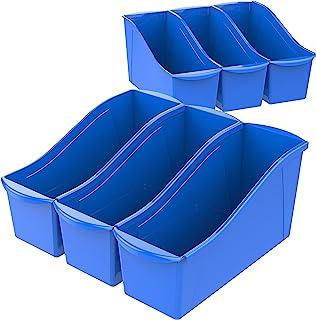 Storex Large Book Bin, 14.3 x 5.3 x 7, Blue, Case of 6 (71101U06C)