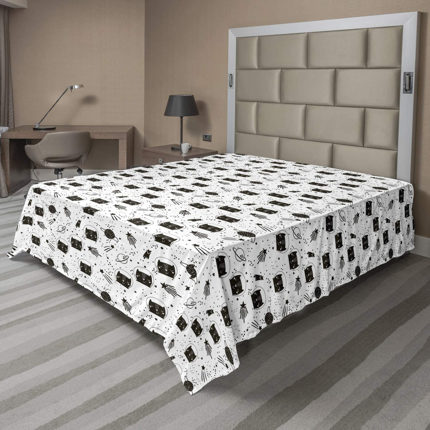 Ambesonne Max 75% OFF Pet Flat Sheet Cats Cheap super special price in with Outer Constellation Space