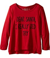 The Original Retro Brand Kids - Dear Santa I Really Did Try Long Sleeve Pullover (Little Kids/Big Kids)