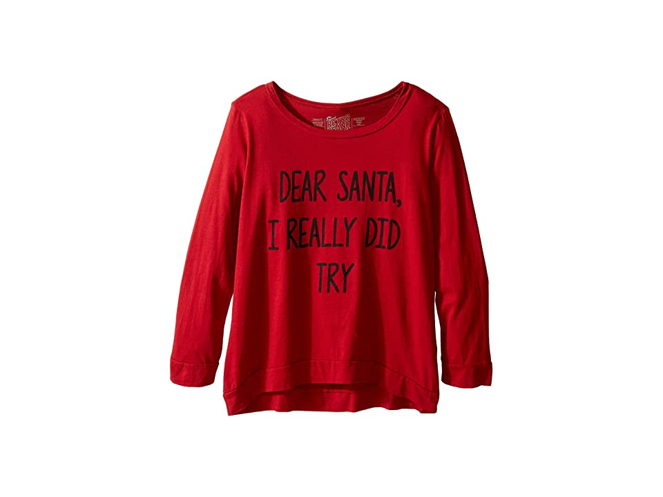 The Original Retro Brand Kids Dear Santa I Really Did Try Long Sleeve Pullover (Little Kids/Big Kids) (Dark Red) Girl's Long Sleeve Pullover
