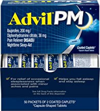 Advil PM (50 x 2 Packets - 100 Count) Pain Reliever / Nighttime Sleep Aid Coated Caplet, 200mg Ibuprofen, 38mg Diphenhydra...