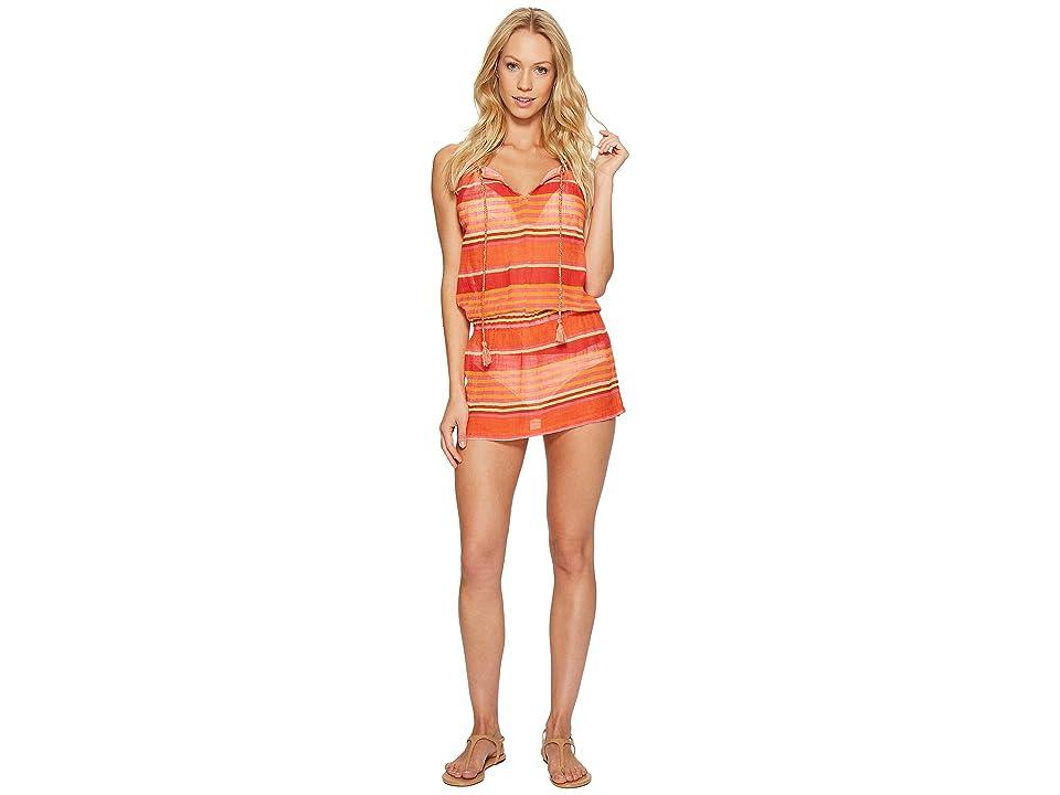 Polo Ralph Lauren Playa Stripe High Neck Dress Cover-Up (Coral) Women