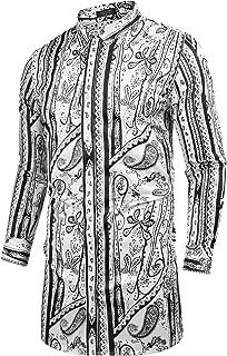 Men's Paisley Shirt Long Floral Print Casual Button Down Shirt Slim Fit Outfit Plus Size