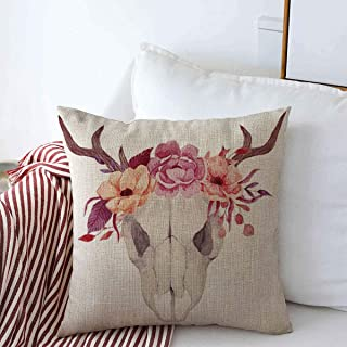 Staroorl Throw Pillow Covers Ethnic Antlers Watercolor Skulls Flowers American Tattoo Nature Artistic Bohemian Boho Bone Design Cushion Case Cotton Linen for Winter Home Couch Bed Decor 16