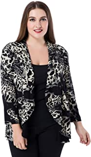 Chicwe Women's Plus Size Leopard Printed Casual Blazer Jacket - Waterfall Open Front