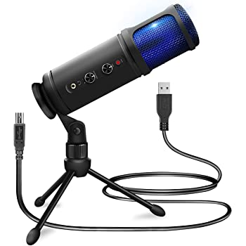USB PC Recording Condenser Microphone - Blue LED, Adjustable Gain, Headphone Jack, Mute Control, Tripod Stand - Portable Pro Audio Condenser Desk Mic for Podcast Streaming Gaming - Pyle PDMIUSB50