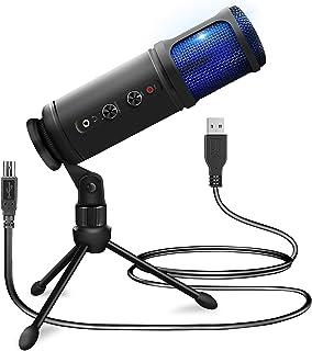 USB Plug and Play Microphone - Portable Pro Audio Condenser Recording Desk Mic w/Adjustable Gain, Headphone Jack, Mute Con...